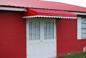 Red Aluminum Door Awning White Trim